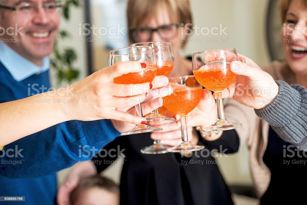Friends Toasting Together stock photo