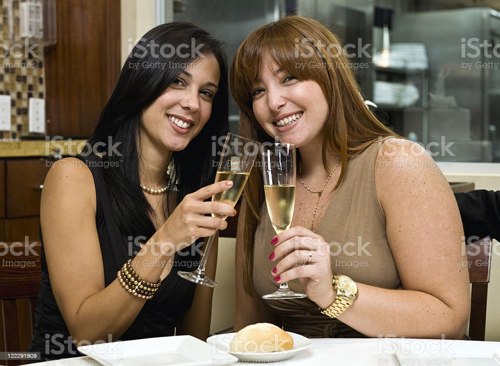 Friends toasting with champagne royalty-free stock photo