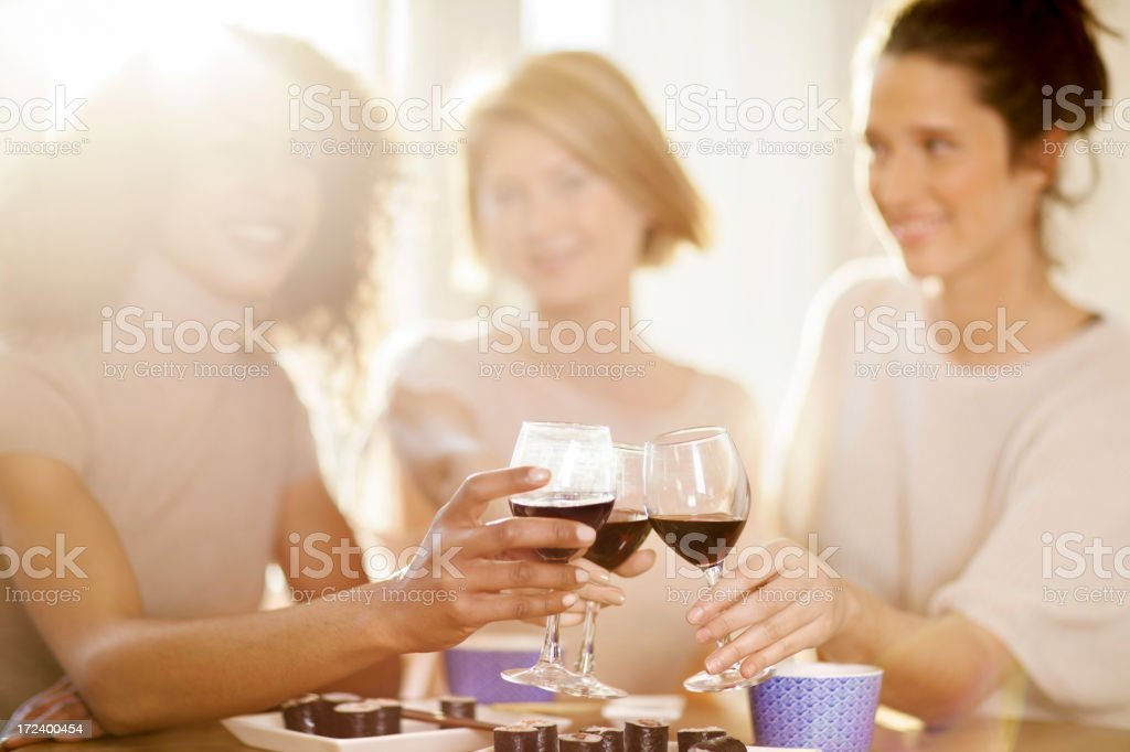 Friends toasting with wine glasses royalty-free stock photo