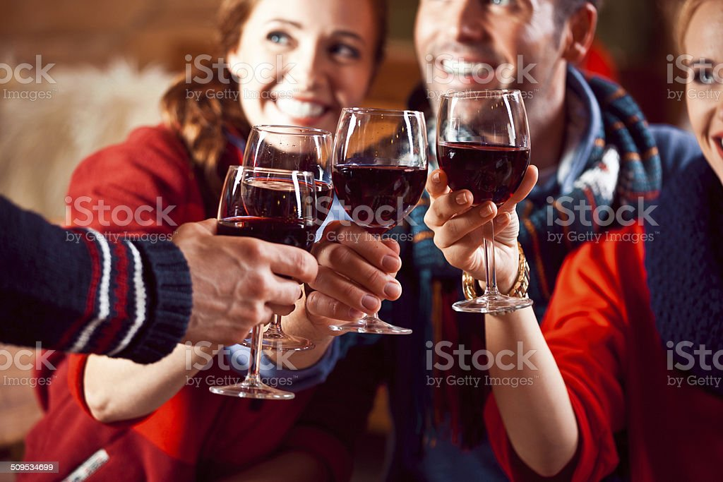 Friends toasting with wine stock photo