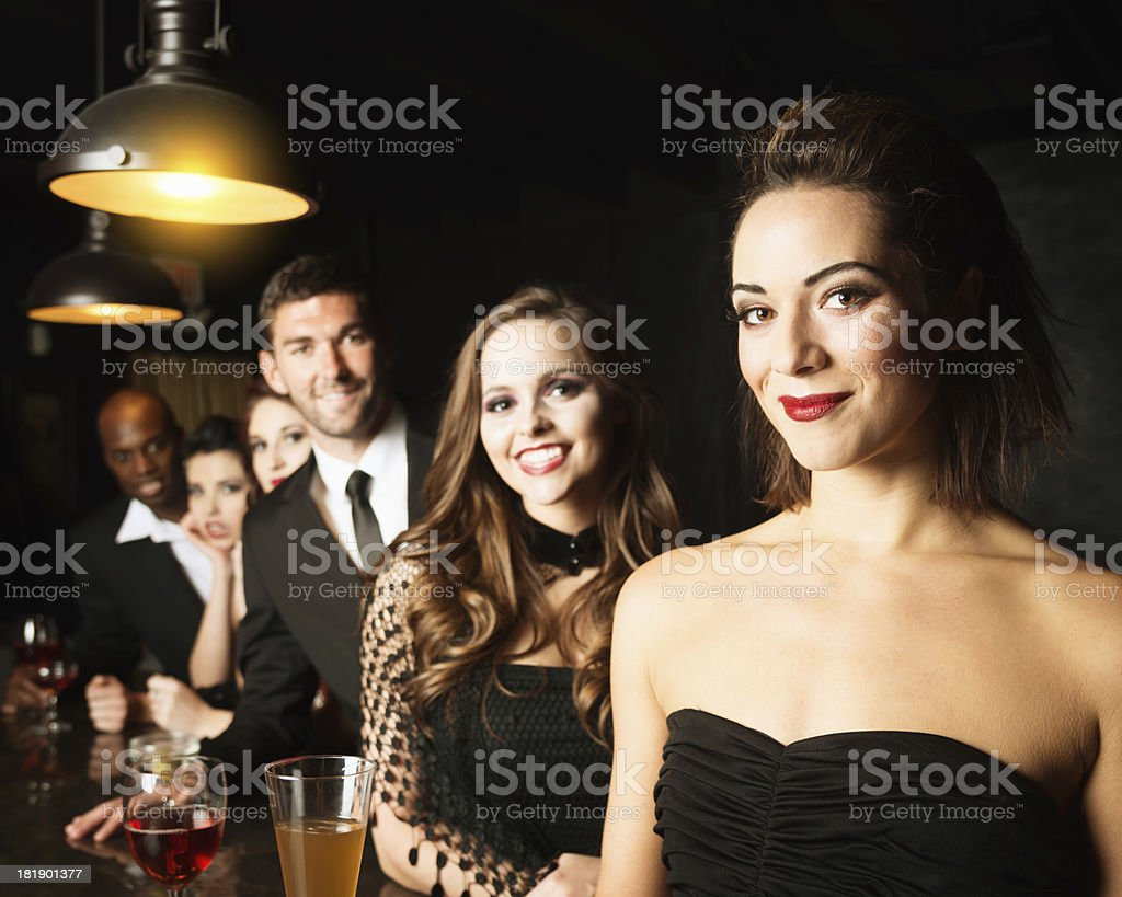Friends Together in Nightclub Cocktail Bar royalty-free stock photo
