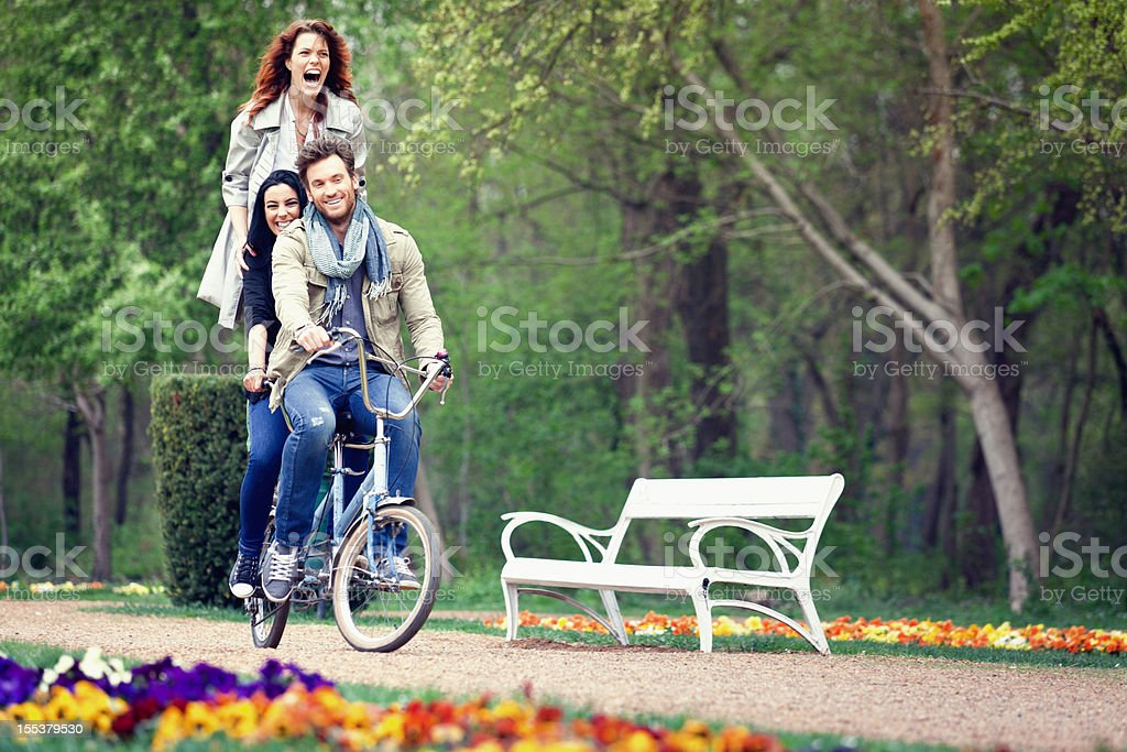 Friends together in the park stock photo