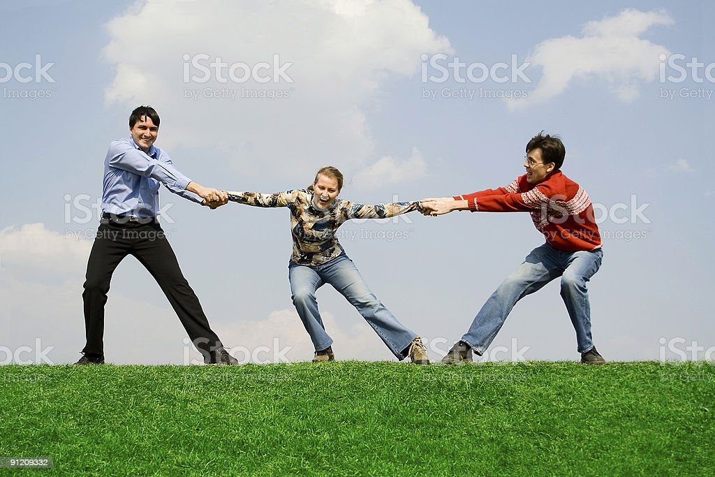 friends together on the grass royalty-free stock photo