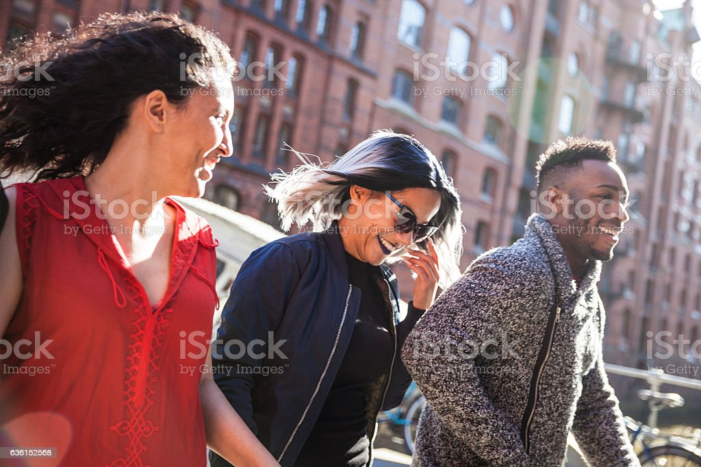 Friends together out in the city stock photo