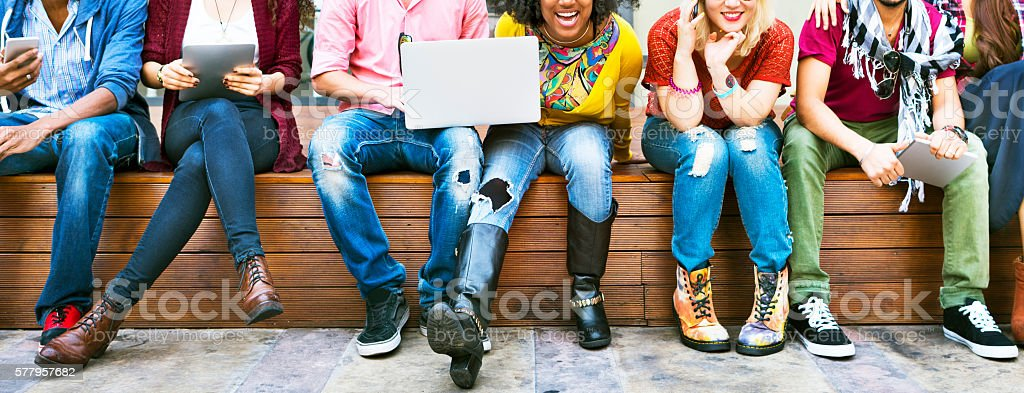 Friends Togetherness Friendship Happy Enjoy Concept stock photo