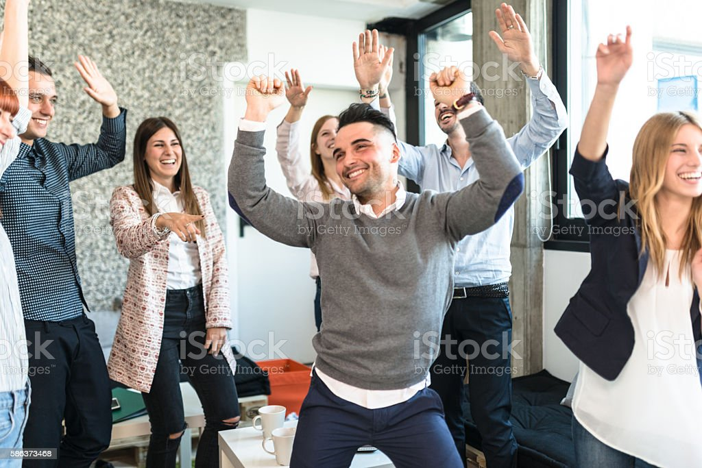 friends togetherness have a party in the office stock photo