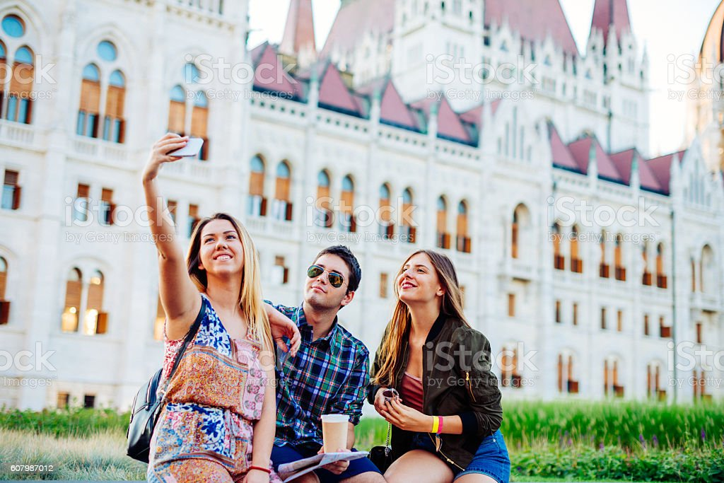 Friends travel to Budapest stock photo