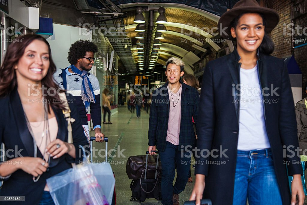 Friends traveling to London stock photo