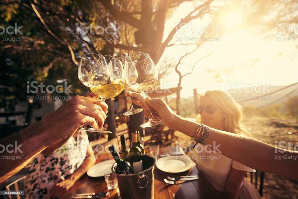 Friends until the end of wine stock photo