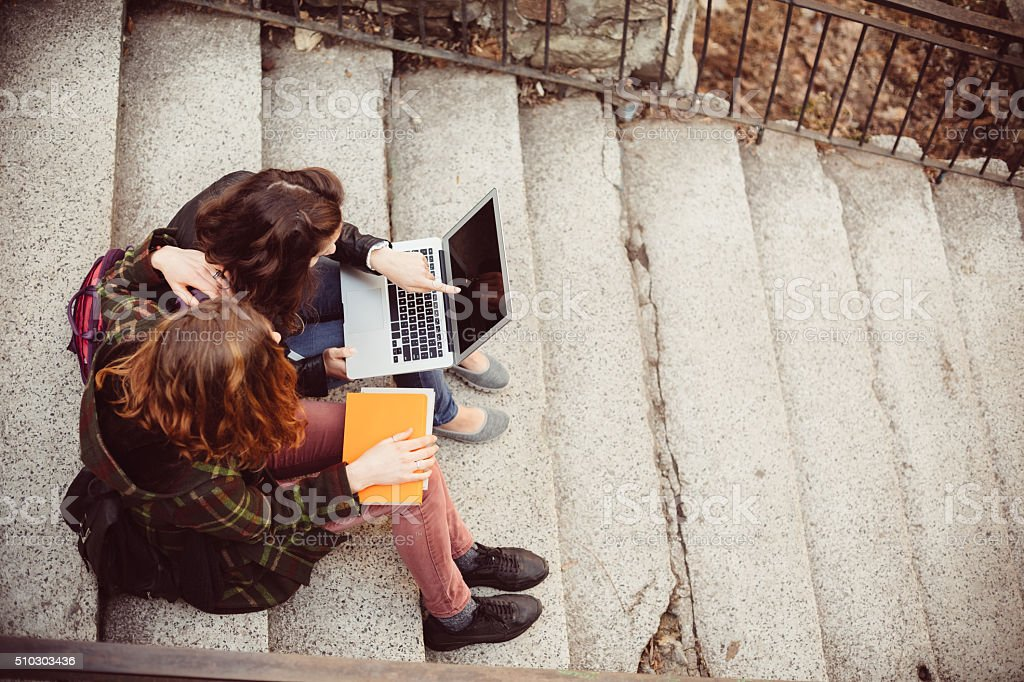 Friends using lap top for online studying stock photo