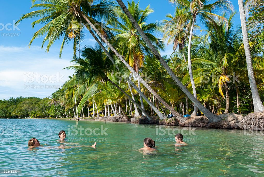 Friends vacationing in Bocas del Toro, Panama stock photo