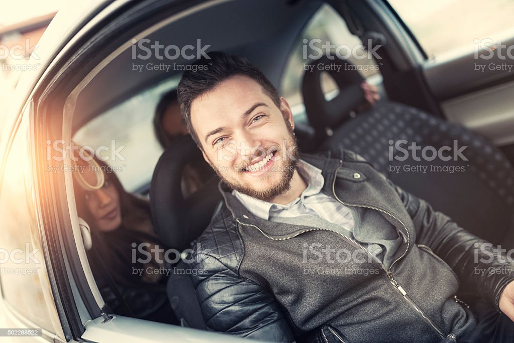 Friends Waiting the Driver and Ready for Road Trip stock photo