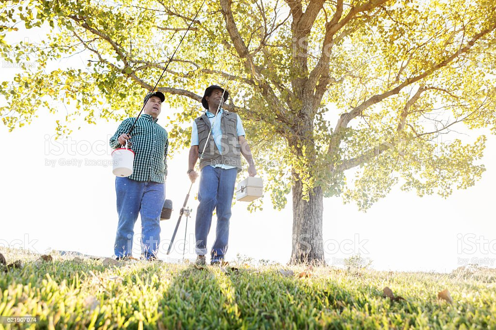 Friends walk to fishing pond on a sunny day stock photo