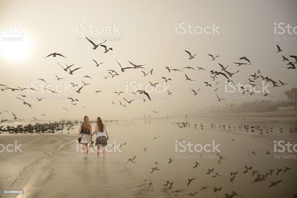 Friends walking on beautiful foggy beach at sunrise. stock photo
