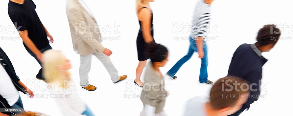 Friends walking on white background royalty-free stock photo