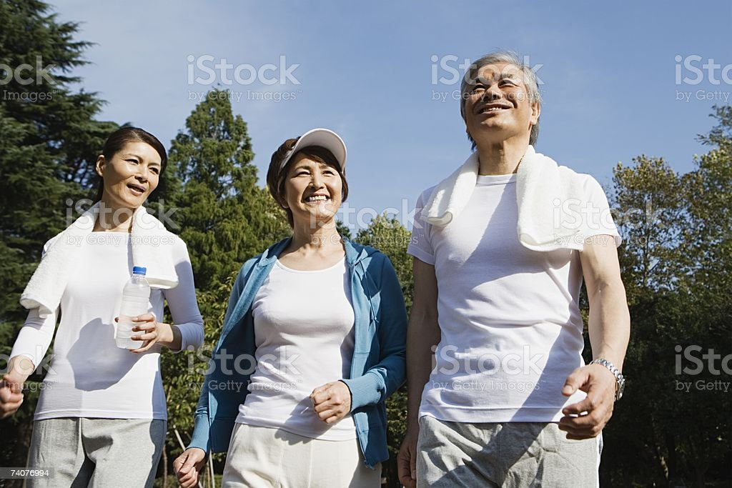 Friends walking stock photo