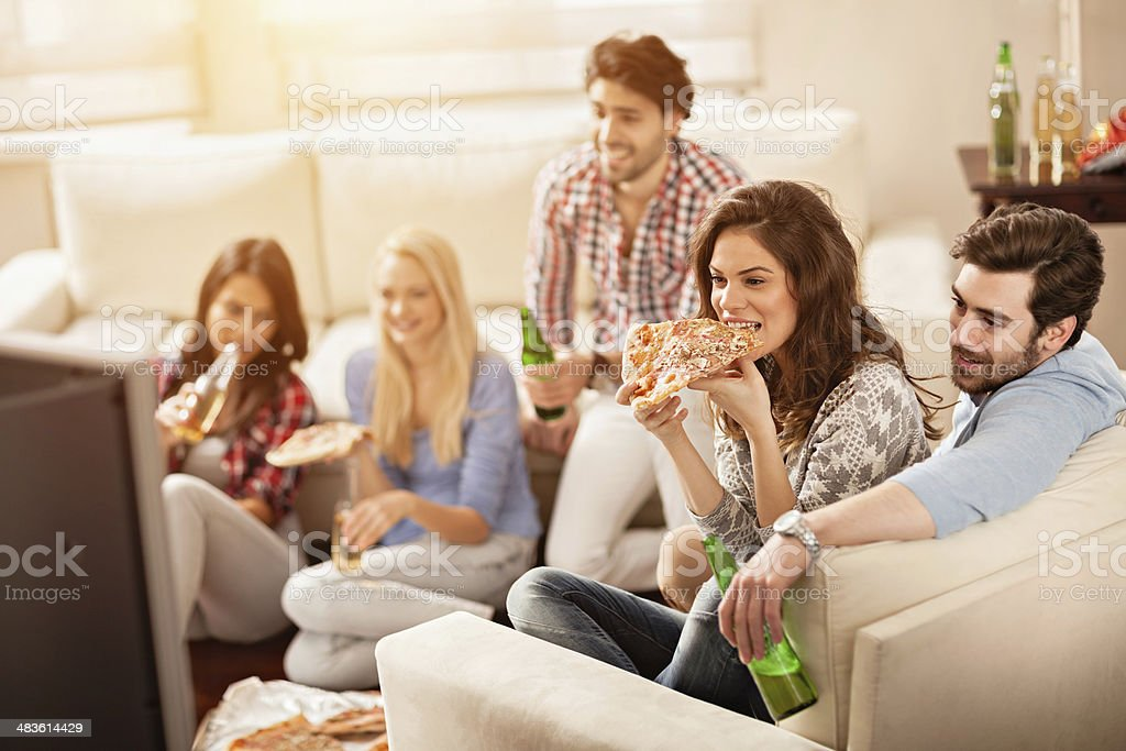 Friends watching movie stock photo