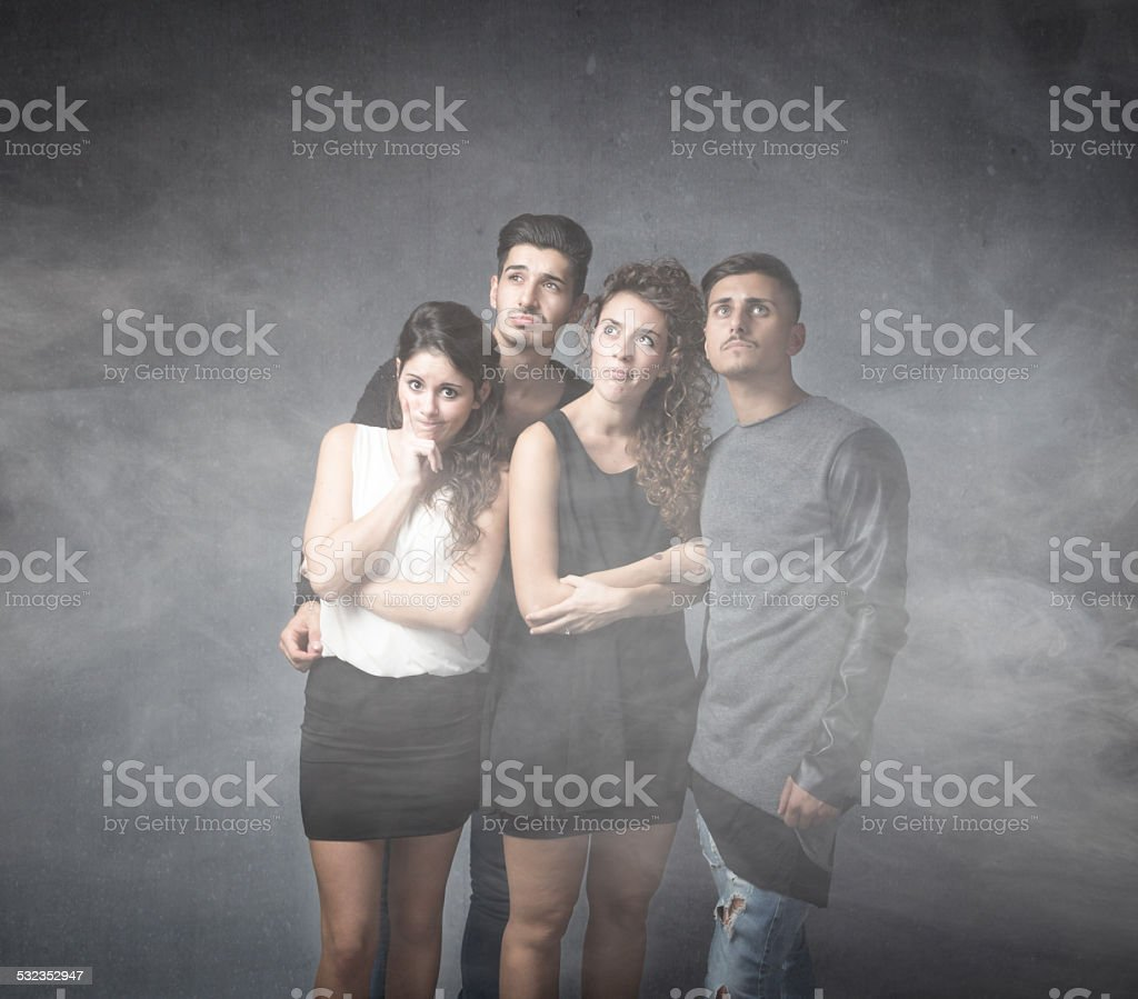 friends with a lot of doubts stock photo