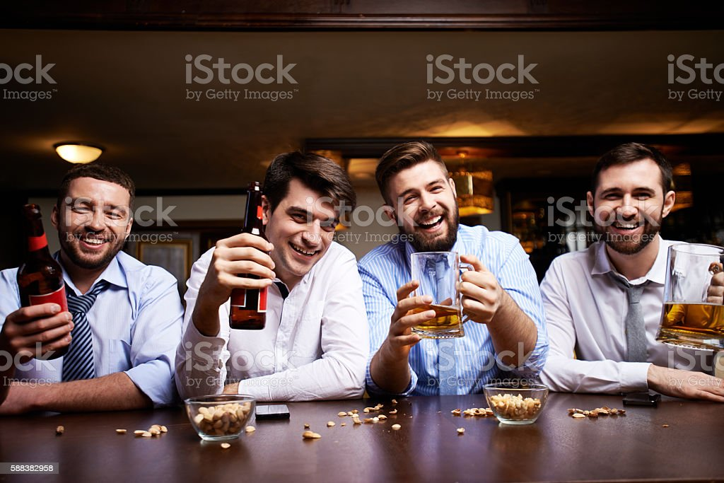 Friends with beer stock photo