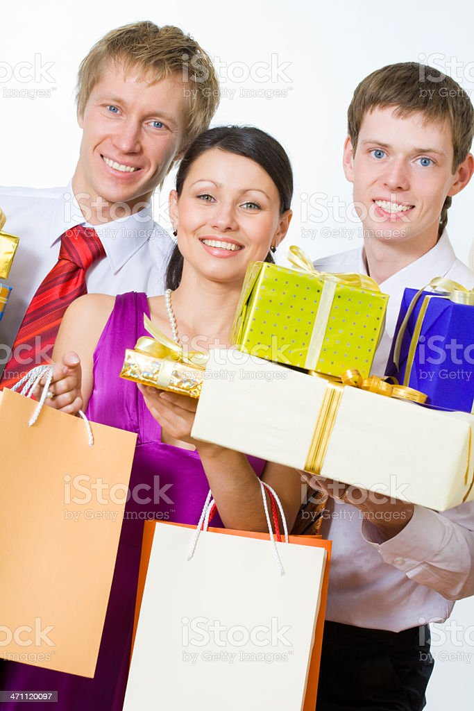 Friends with gifts royalty-free stock photo