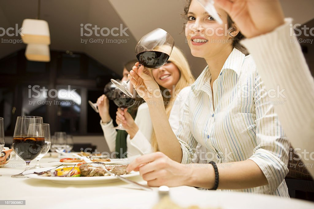 Friends  with glasses of wine royalty-free stock photo