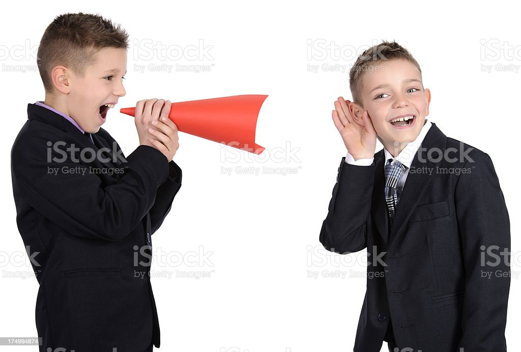 friends with megaphone royalty-free stock photo
