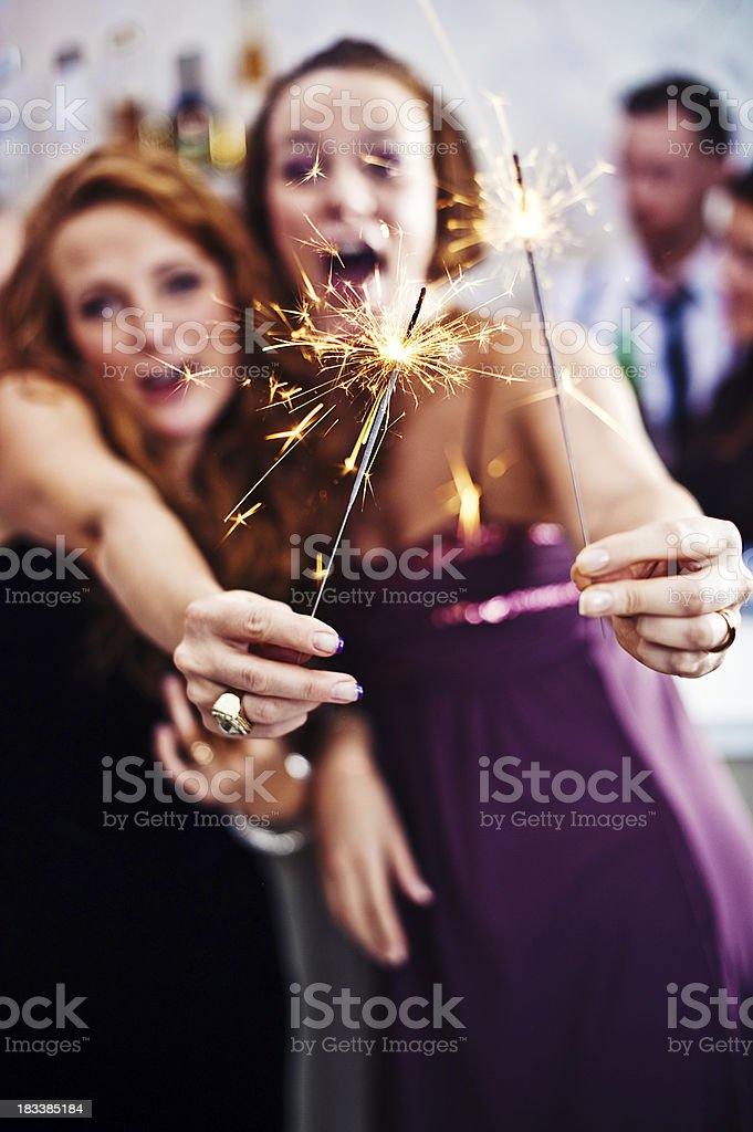 Friends with sparklers royalty-free stock photo