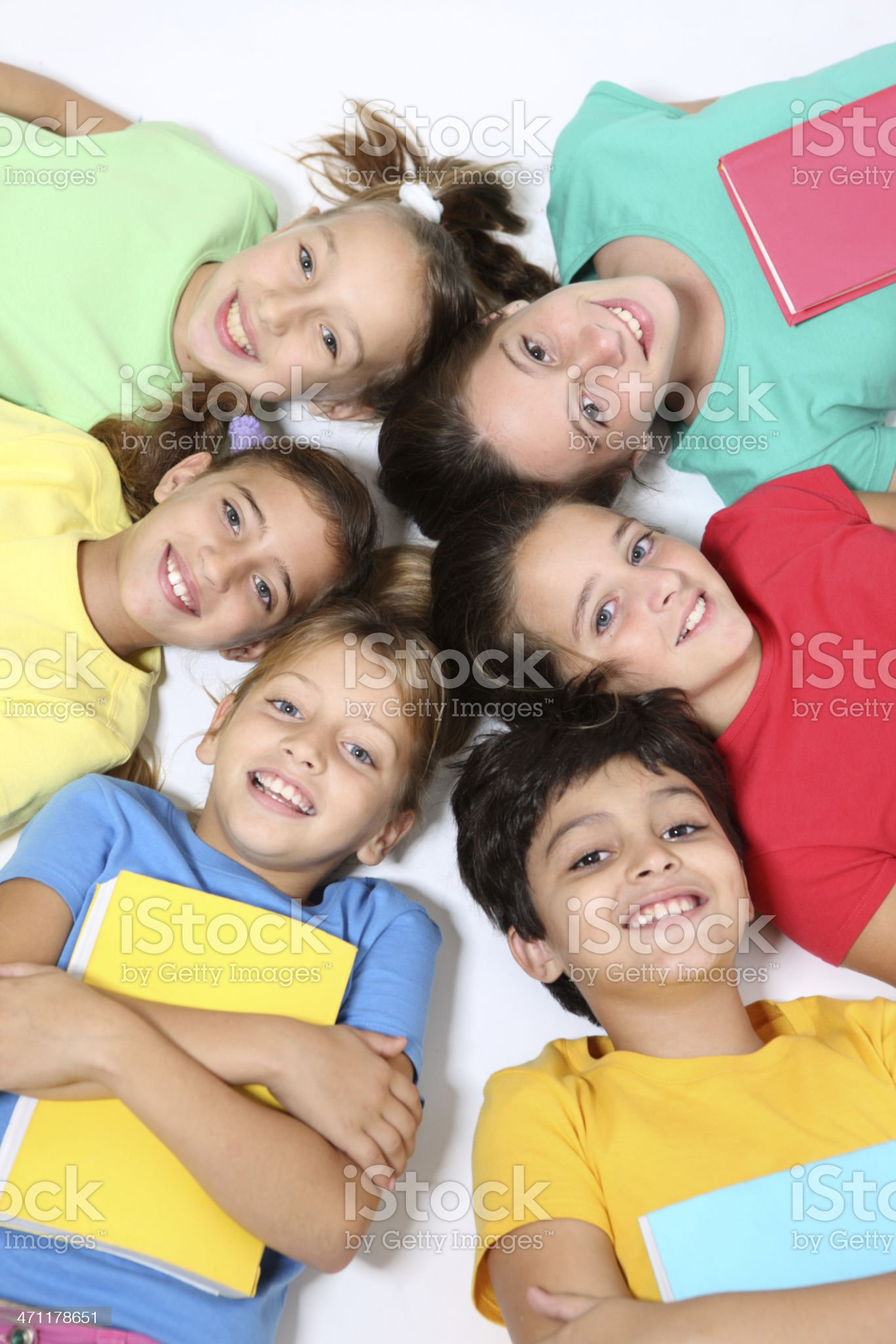 Friends with textbooks royalty-free stock photo