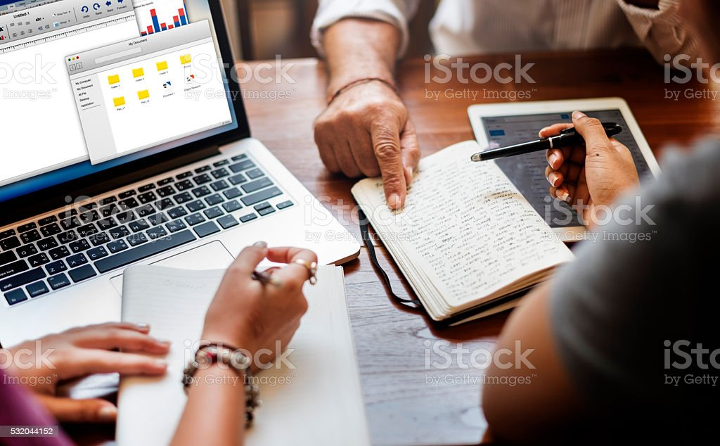 Friends Working Discussion Meeting Sharing Ideas Concept stock photo