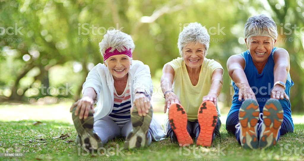 Friendship and fitness are our priorities stock photo