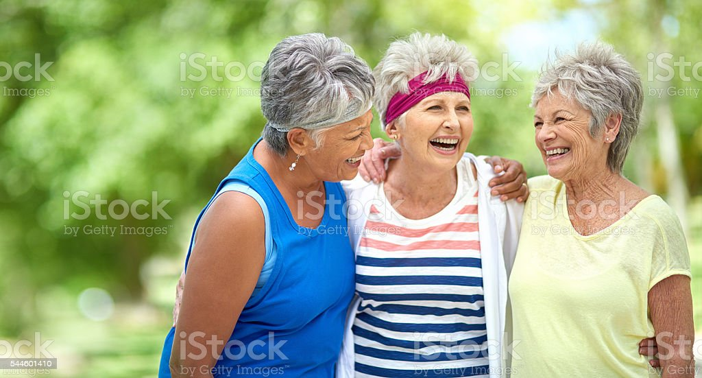 Friendship and fitness keep the heart young stock photo