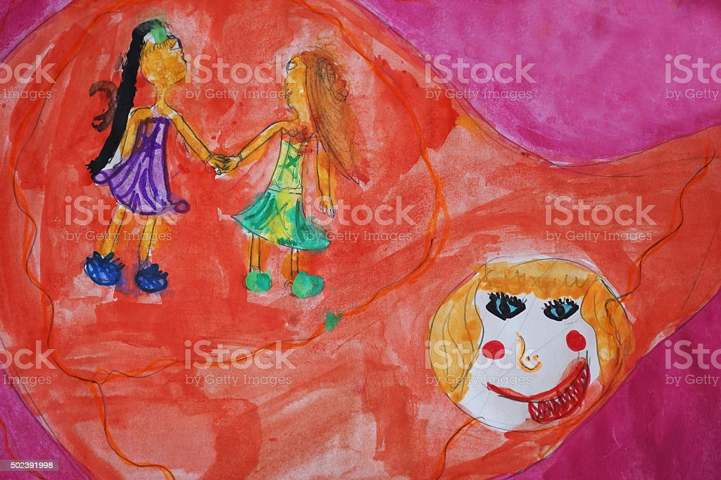 Friendship And Jealousy In My Daughter's Painting stock photo