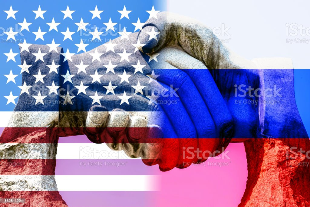 Friendship between US and Russia with handshake stock photo