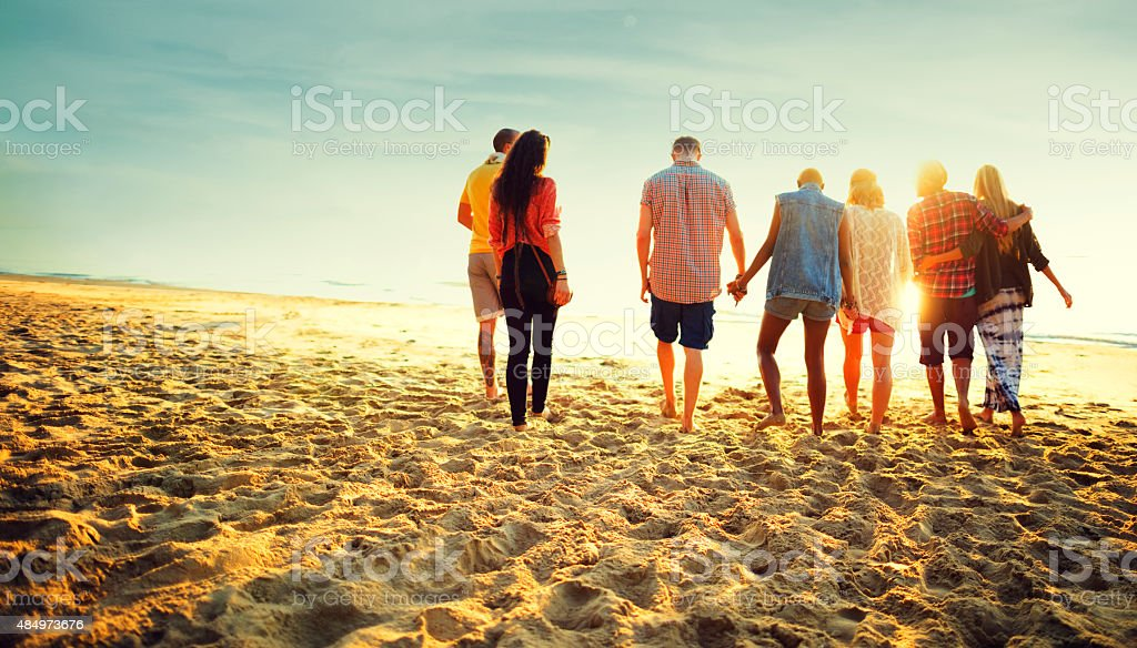 Friendship Bonding Relaxation Summer Beach Happiness Concept stock photo