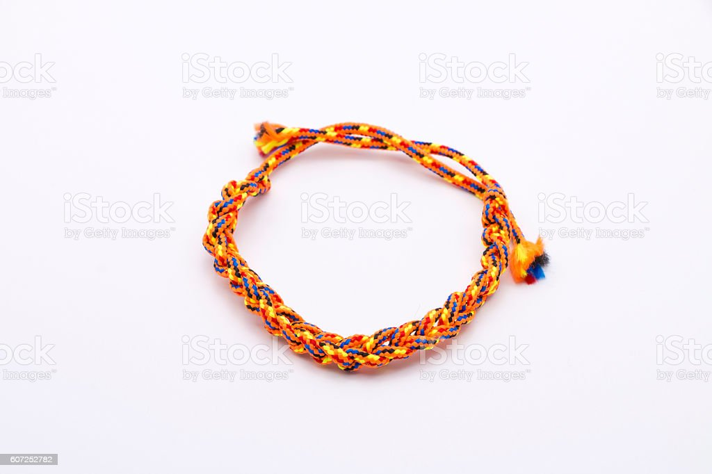 Friendship Bracelet on White Background stock photo