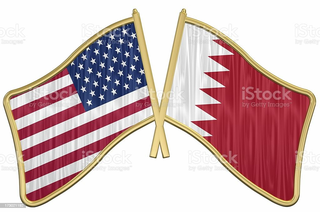 US Friendship Flag Pin - Bahrain stock photo