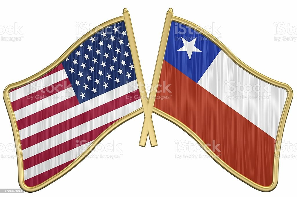 US Friendship Flag Pin - Chile stock photo