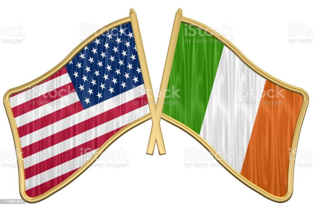 US Friendship Flag Pin - Ireland royalty-free stock photo