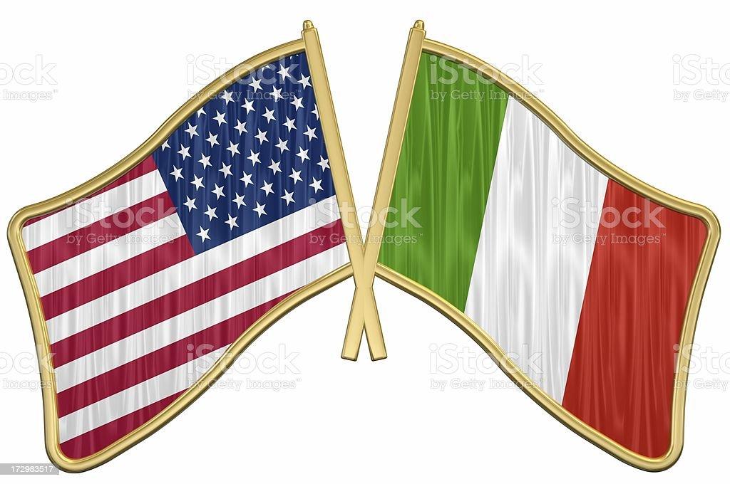 US Friendship Flag Pin - Italy stock photo