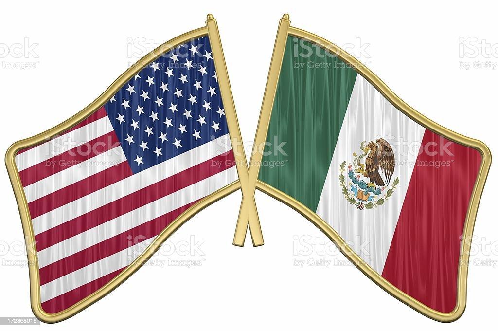 US Friendship Flag Pin - Mexico stock photo