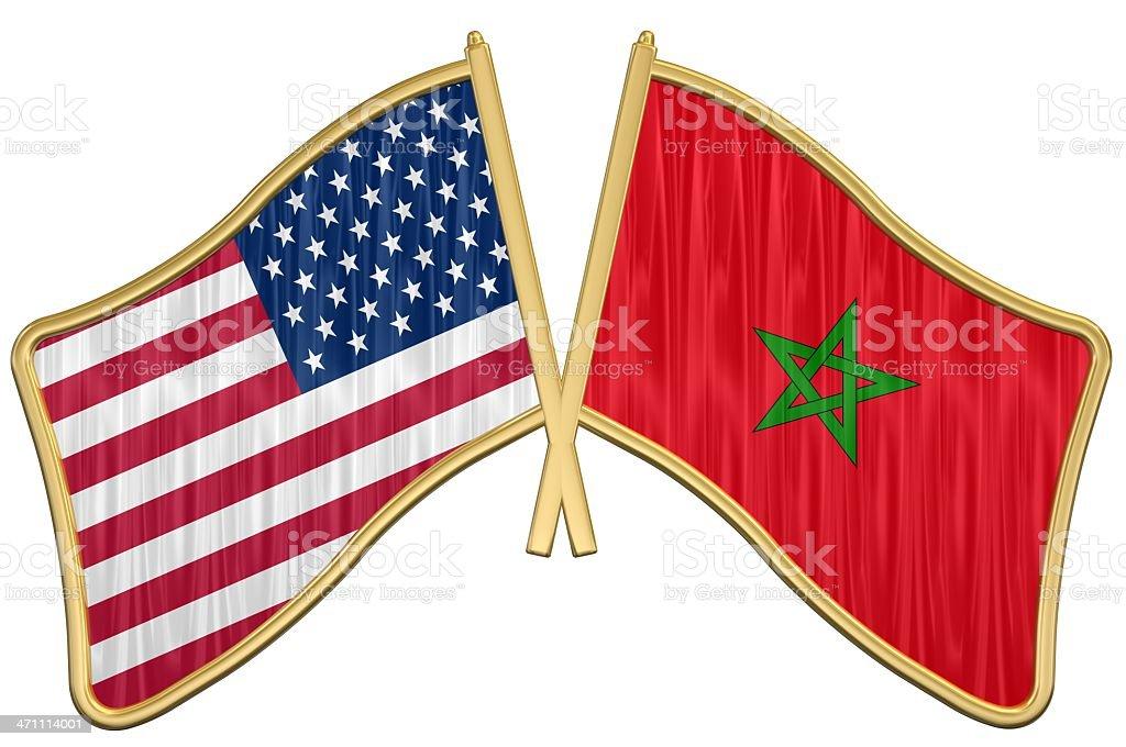US Friendship Flag Pin - Morocco stock photo