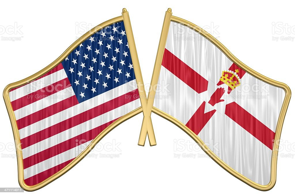 US Friendship Flag Pin - Northern Ireland stock photo