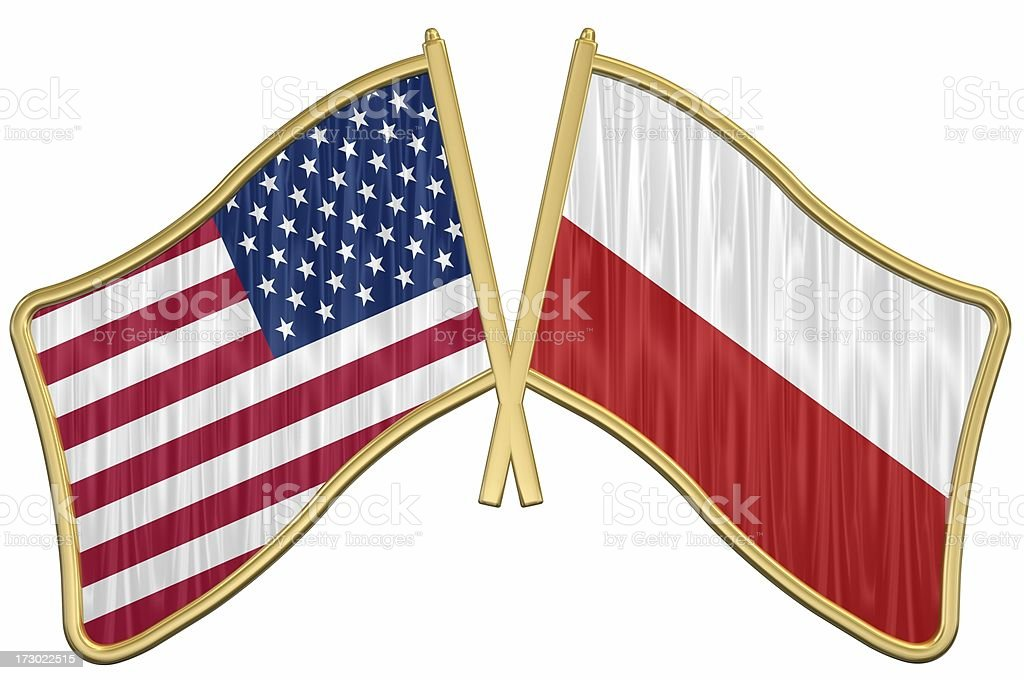 US Friendship Flag Pin - Poland royalty-free stock photo