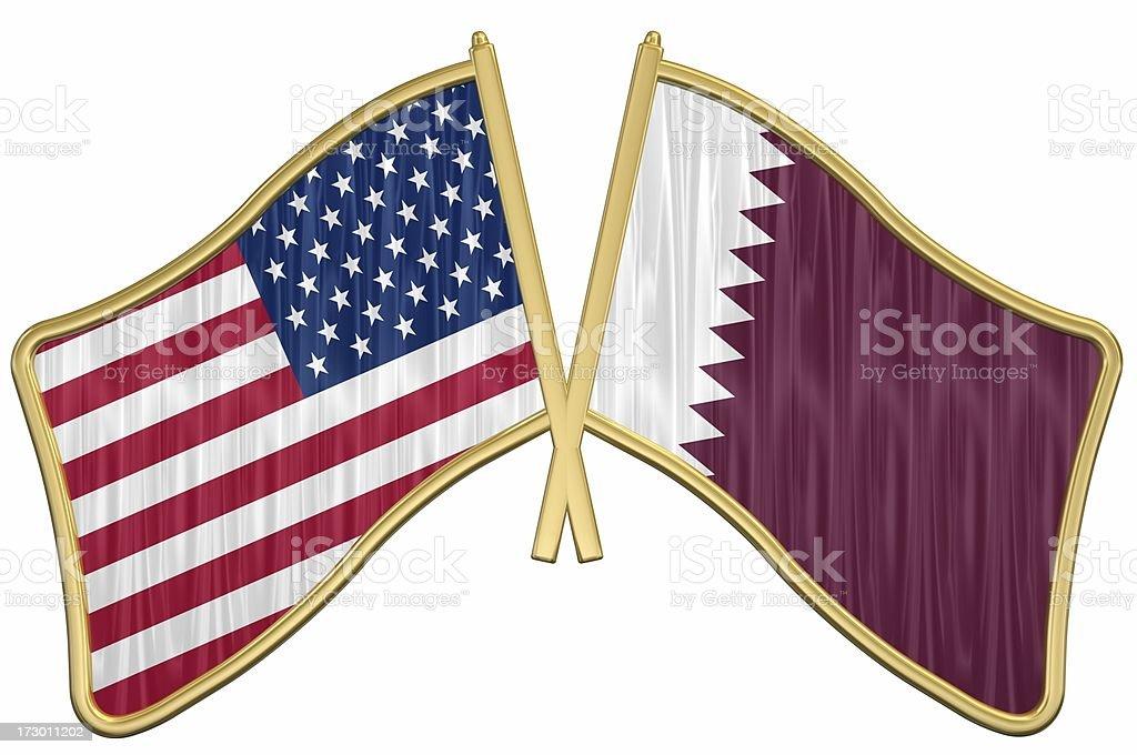 US Friendship Flag Pin - Qatar stock photo