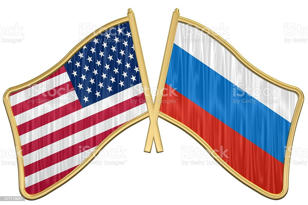 US Friendship Flag Pin - Russia stock photo