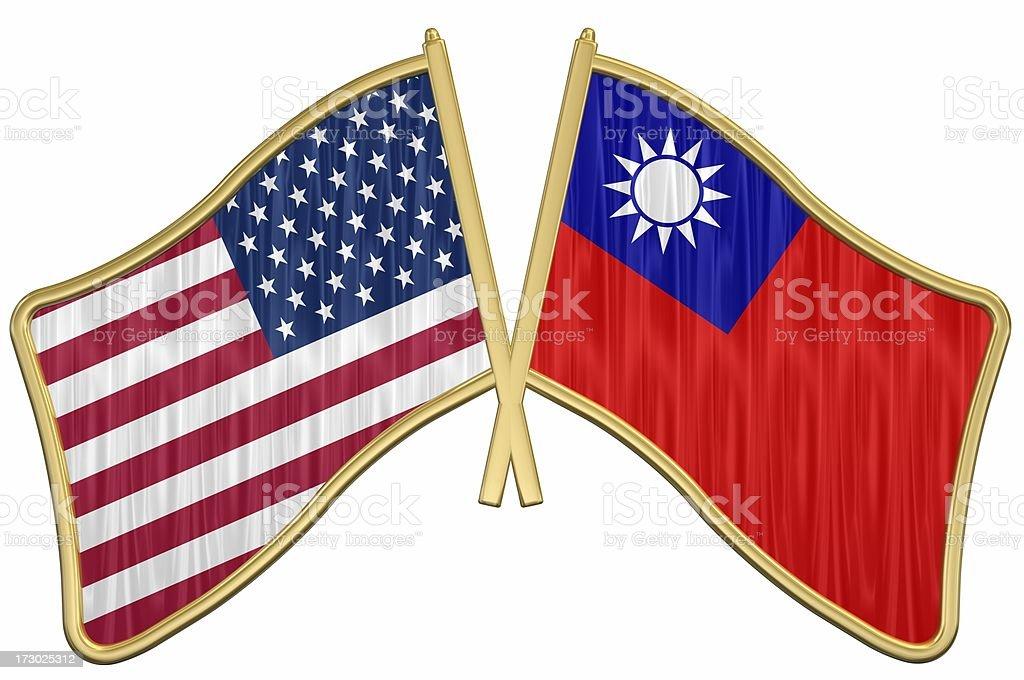 US Friendship Flag Pin - Taiwan stock photo