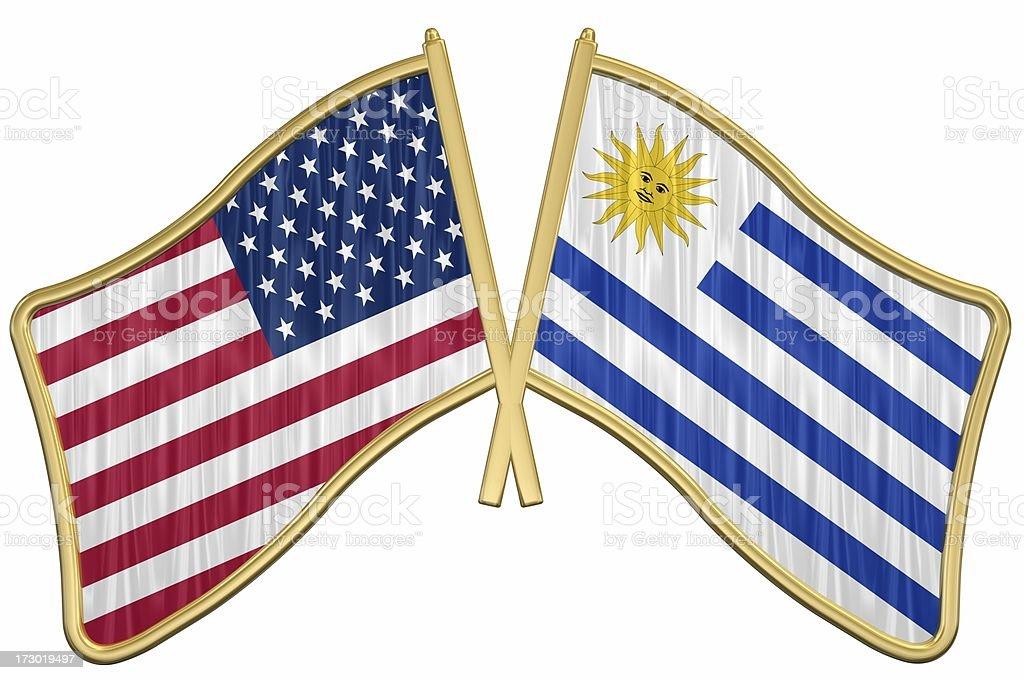 US Friendship Flag Pin - Uruguay royalty-free stock photo