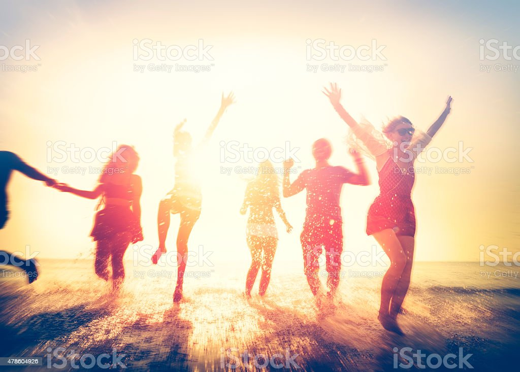 Friendship Freedom Beach Summer Holiday Concept stock photo