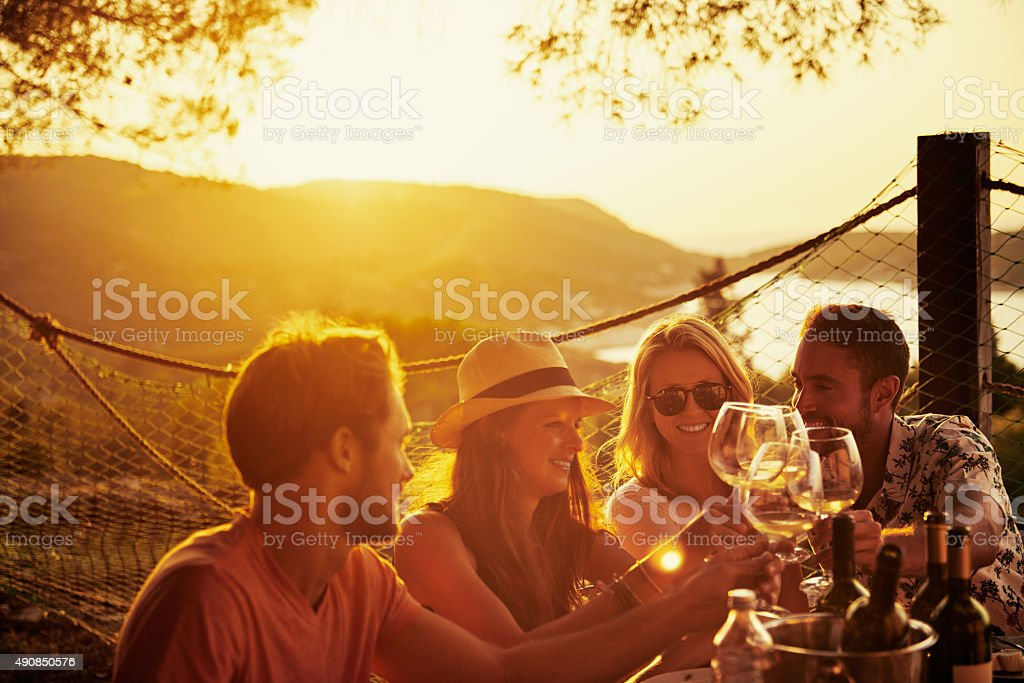 Friendship is the wine of life stock photo