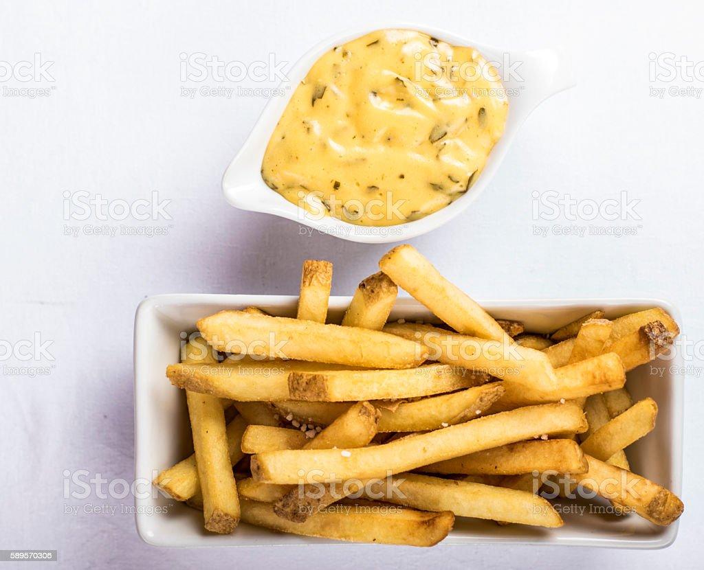 Fries and bearnaise sauce stock photo